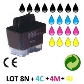Lot 20 Cartouches Jet D Encre Compatible Brother Lc900-Mfc 210c Pour Brother Mfc 820cw : 8 Black + 4 Cyan + 4 Magenta + 4 Yellow
