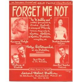 """forget me not """"ne m'oublie pas"""" / lucienne delyle, maria candido, the kalin twins (édition originale 1958 - piano et chant - paroles françaises et anglaises)"""