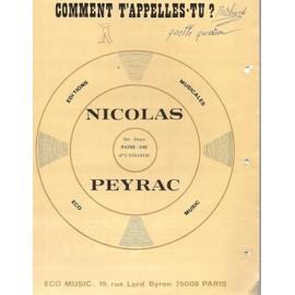 Comment t'appelles-tu ? - Nicolas Peyrac - Chant , Piano & Accords guitare
