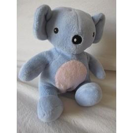 Koala Bleu Et Rose Pommette 16 Cm Environ