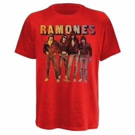 "TEE SHIRT HOMME ROUGE RAMONES ""BAND STANDING"" TAILLE XL"