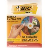 Etiquettes Blanches Bic Diam�tre 11,5cm Pour Cd Et Dvd - 20 �tiquettes