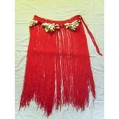 Danse Orientale Tribal Ceinture A Franges Rouge
