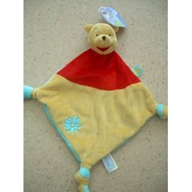 Winnie Doudou Plat Disney Baby Nicotoy Peluche Jaune Rouge Bleu Fleur