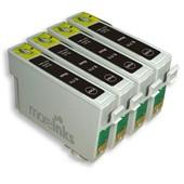 4x Cartouches D'encre Compatibles - Avec Puce - Black Pour Epson/Stylus/Office/Wifi Dx8450 Dx400 D & Dx Range S20 Sx200 Sx205 Sx400 Sx100 Sx105 S21 Sx215 Sx415 Sx515w Sx115