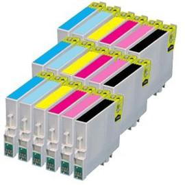 18x Haute Capacit� Cartouches D'encre Compatibles - Avec Puce - Cyan / Light Cyan / Yellow / Magenta / Light Magenta / Black Pour Epson/Stylus/Photo R200 R220 R300 R300m R320 R340 Rx500