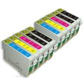 10x Cartouches D'encre Compatibles - Avec Puce - Cyan, Magenta, Yellow, Black - Pour Epson Stylus, Office, Wifi Sx205, Sx400, Sx100, Sx105, S21, Sx215, Sx415, Sx515w, Sx115, Sx510w