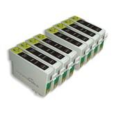 8x Cartouches D'encre Compatibles - Avec Puce - Black Pour Epson/Stylus/Office/Wifi Dx8450 Dx400 D & Dx Range S20 Sx200 Sx205 Sx400 Sx100 Sx105 S21 Sx215 Sx415 Sx515w Sx115