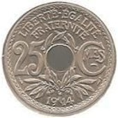 Piece Trouee 25 Centimes De Francs 1914