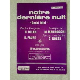 """""""notre dernière nuit"""" (slow-rock) par sabrina // """"viens la nuit nous appelle"""" (slow-rock) par gianni morandi"""
