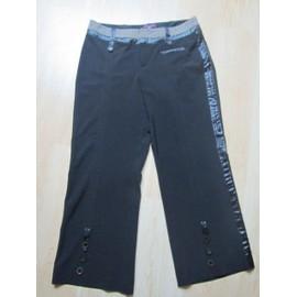 Pantalon T 38 40 Noir Bande Satin Sur Le C�t� Tr�s Chic One Step