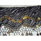 Danse Orientale Ceinture Velours Zebre Noir Argent
