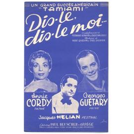 "dis-le, dis-le moi... ""tamiami"" (fernand bonifay, christian jollet / mort garson, earl shuman) partition originale 1960"