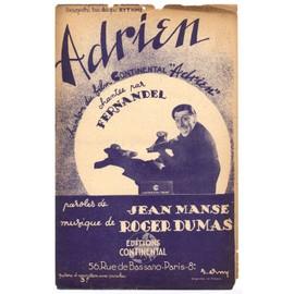 """adrien (du film """"adrien"""") / jean manse, roger dumas / partition originale 1943"""
