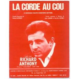 """la corde au cou """"i should have known better"""" (richard anthony, john lennon, paul mc cartney) / partition originale 1964, piano et chant"""