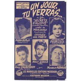 """un jour, tu verras... (chanson du film """"secrets d'alcove"""" / marcel mouloudji, georges van parys) / partition originale 1954 avec tableau d'accords pour la guitare"""