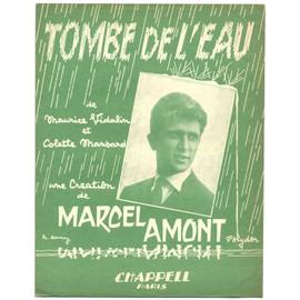 tombe de l'eau (maurice vidalin / colette mansard) / partition originale 1961, piano et chant