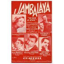 "jambalaya ""on the bayou"" (fernand bonifay / hank williams) / partition originale 1952, paroles française et anglaises"