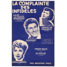 """la complainte des infidèles (chanson du film """"la maison bonnadieu"""" - carlo rim / georges van parys) / partition originale 1951"""
