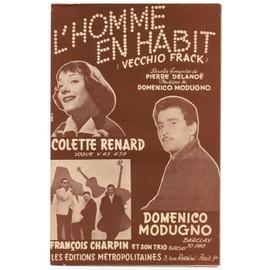 """l'homme en habit """"vecchio frack"""" (pierre delanoë / domenico modugno) / partition originale 1955"""