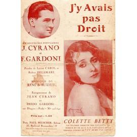 J Y AVAIS PAS DROIT - COLETTE BETTY - J CYRANO - F. GARDONI - carol - delamare - rené de buxeuil (java)