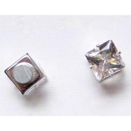 Boucle D'oreille Homme Diamant X1 Strass Carr� Aimant