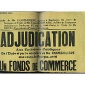 1 Affiche De L'adjudication Aux Ench�res Publiques D'un Fonds De Commerce De Haute Couture Et Mode, Situ� � Bordeaux. Le 17 F�v. 1954 de Etudes Me Chambariere