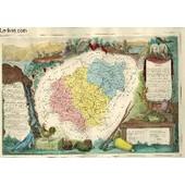 Gravure 19eme Couleurs - Carte Departementale De La Correze Rehaussee En Couleurs - Region Du Sud-Ouest N�18 de Levasseur