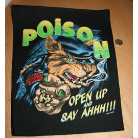 "Death Metal : POISON dossard 40 x 30 cms env. ""OPEN UP AND SAY AAHH !"""