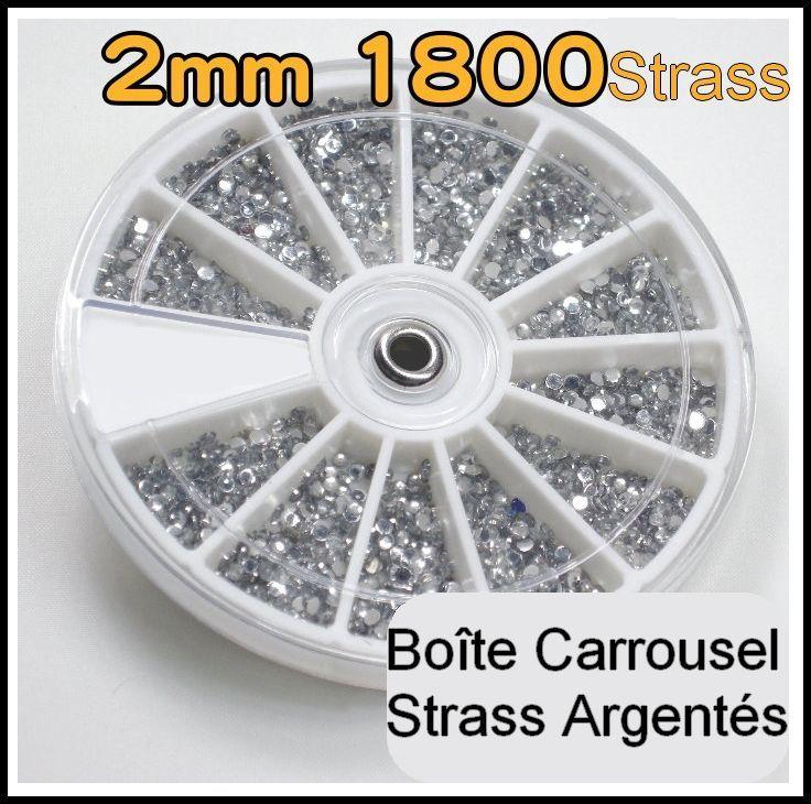 Boite Carrousel Distributeur 1800 Strass Glitter Rond 2mm Argente Silver Pour Ongles Naturels Faux Accessoire Manucure Nail Art