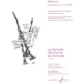 MENUET du Divertimento N°17 KV 334 pour clarinette en si b et piano