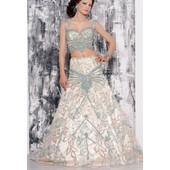 Sublime Keswa Tunisienne Couture 3 Pces Coloris Creme/Turquoise/Sari Indien/Takchita/Robe Kabyle/Robe Orientale