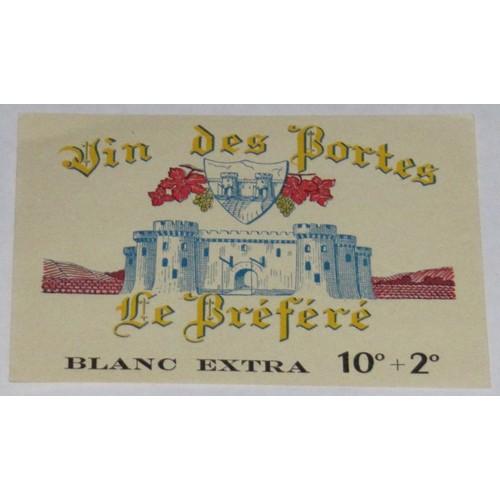 Etiquette très ancienne wine label vin des portes le prefere préféré chateau fort pont <strong>levis</strong> tour blason