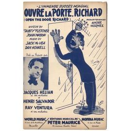 """ouvre la porte, richard ! """"open the door richard"""" / partition originale 1947 / henri salvador, jacques hélian, ray ventura"""