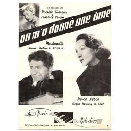 on m'a donné une âme / partition originale 1953 / mouloudji, renée lebas