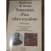 Souvenirs / Ferdinand De Bertier Tome 2 - Souvenirs D'un Ultra-Royaliste de Ferdinand Bertier