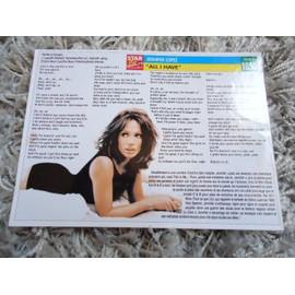 2 Fiches chanson Jennifer Lopez / Gareth Gates / Hélène Ségara + 1 carte Jennifer Lopez + 1 mini carte Jennifer Lopez + 1 carte secret Jennifer Lopez
