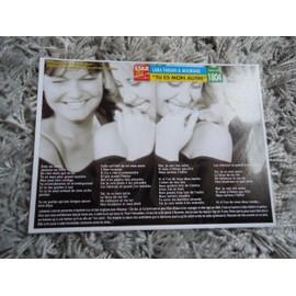 3 Fiches chanson Lara Fabian / Avril Lavigne / Loana / Sonia Lacen & Sébastien Lorca + 1 carte Lara Fabian