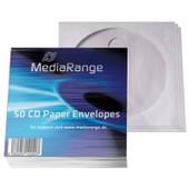 MediaRange 50 Pochettes papier pour CD et DVD - blanc