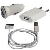 Chargeur 3 En 1 Maison, Voiture, Usb Pour Iphone, Ipod, Ipad