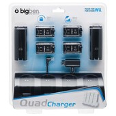 Wii Kit 4 Batteries Noir + Socle De Charge Noir Quad Charger