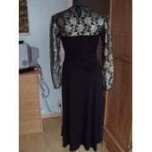 Robe De Soir�e/Ceremonie Noire Manches & Haut De Buste Voile Fin Fleurs Brod�es De Fil D'or & D'argent T.38 Comme Neuve