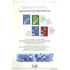 Collection Historique du Timbre Poste Français (Documents Officiels) 21 x 29.7 cm avec oblitération 1er jour : coupe monde football 1998 - sport -  bordeaux saint etienne