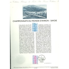 Collection Historique du Timbre Poste Français (Documents Officiels) 21 x 29.7 cm avec oblitération 1er jour : championnat monde aviron - sport savoie novalaise