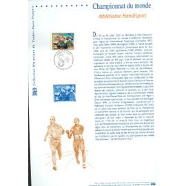Collection Historique du Timbre Poste Français (Documents Officiels) 21 x 29.7 cm avec oblitération 1er jour : championnat monde athlétisme handisport - sport handicap