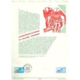Collection Historique du Timbre Poste Français (Documents Officiels) 21 x 29.7 cm avec oblitération 1er jour : championnat monde cyclisme 1989 à chambéry - sport