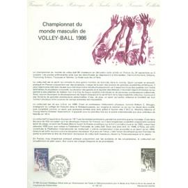 Collection Historique du Timbre Poste Français (Documents Officiels) 21 x 29.7 cm avec oblitération 1er jour : championnat monde volley-ball - sport