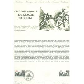 Collection Historique du Timbre Poste Français (Documents Officiels) 21 x 29.7 cm avec oblitération 1er jour : championnats monde escrime - sport
