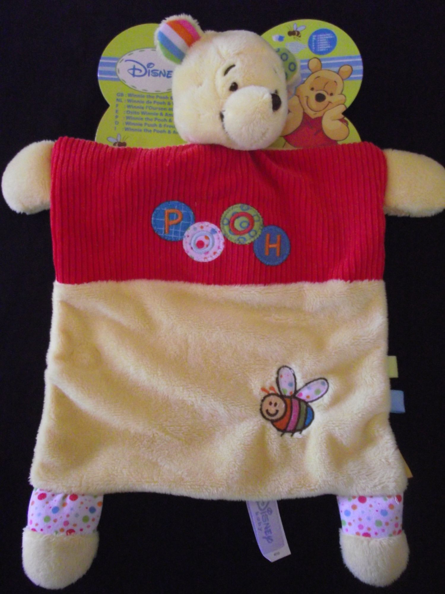 Doudou Plat Winnie Ourson Ours Garden Disney Baby Jaune Rouge Abeille