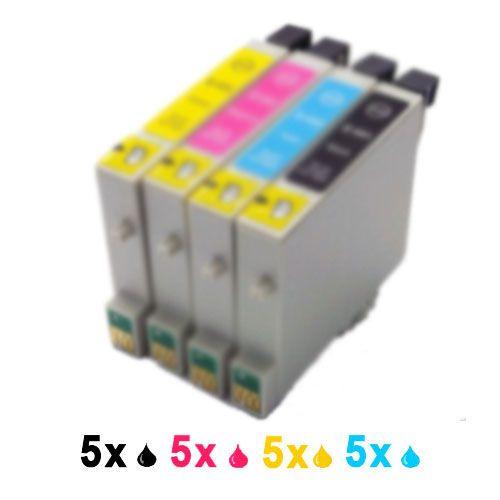 Encres compatibles 20 5N 5M 5C 5J en remplacement de Epson T0441 T0442 T0443 T0444 pour les imprimantes Stylus C64 C66 C84 C84N C84WN C86 CX3600 CX3650 CX4600 CX6400 CX6600